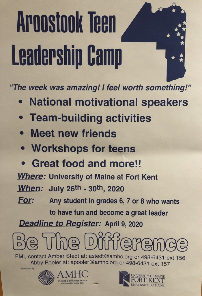 Flyer for Aroostook Leadership Camp