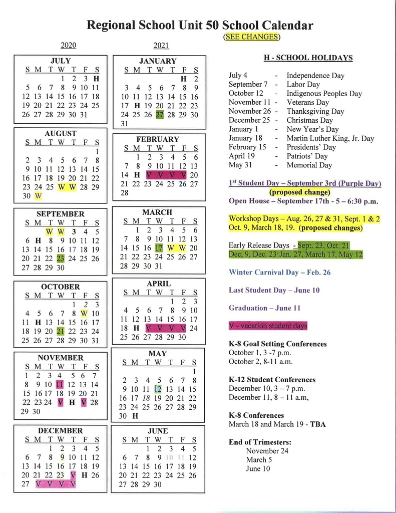 Revised School Calendar 20-21
